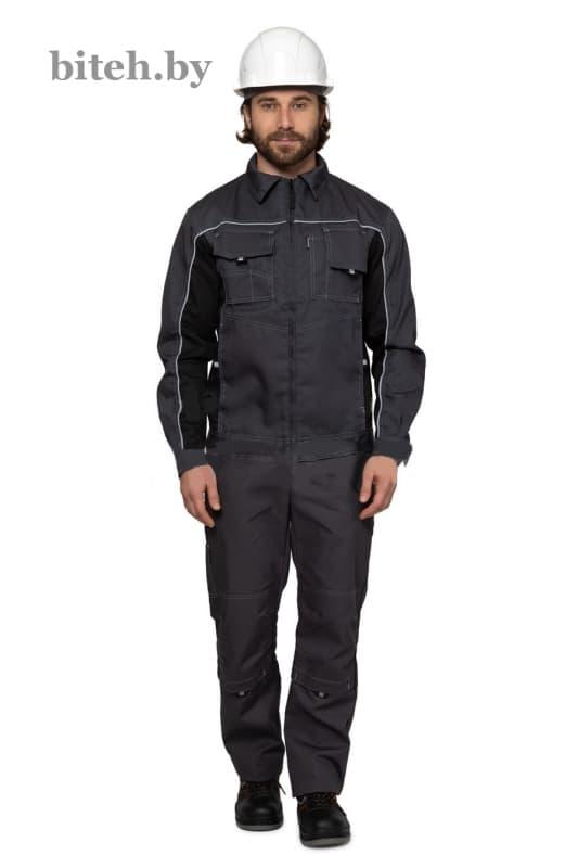 Рабочая куртка «Люкс», цвет серый-черный